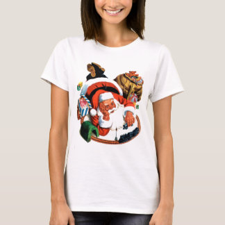 Santa Claus Plays with a Toy Train T-Shirt