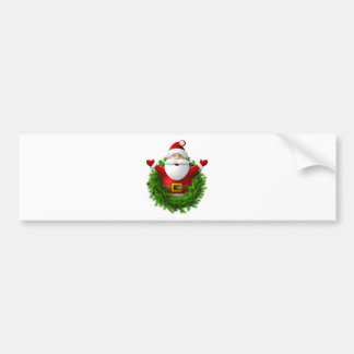 Santa Claus Pops Out of a Christmas Wreath Bumper Stickers