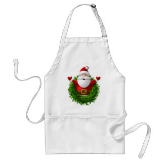 Santa Claus Pops Out of the Christmas Wreath Aprons