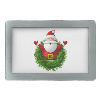 Santa Claus Pops Out of the Christmas Wreath Rectangular Belt Buckles