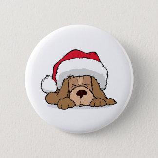 Santa Claus Puppy 6 Cm Round Badge