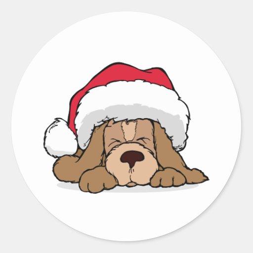 Santa Claus Puppy Round Stickers