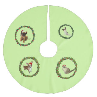 Santa Claus pups Brushed Polyester Tree Skirt