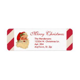 Santa Claus Red Candy Cane Stripe Custom Christmas Return Address Label