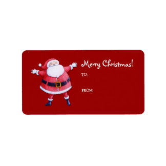 Santa Claus red Gift Tag Label Address Label