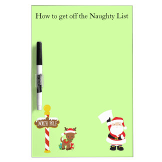Santa Claus Reindeer and North Pole Dry Erase Board