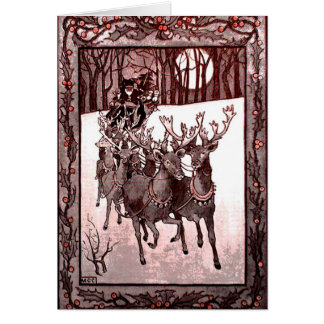 Santa Claus Reindeer And Sleigh Card