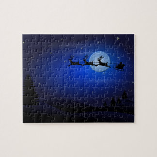 Santa Claus Reindeer and Sleigh over Moon Puzzles