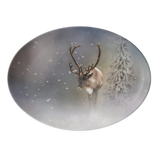 Santa Claus Reindeer in the snow Porcelain Serving Platter