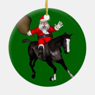 Santa Claus Riding A Black Horse Ceramic Ornament