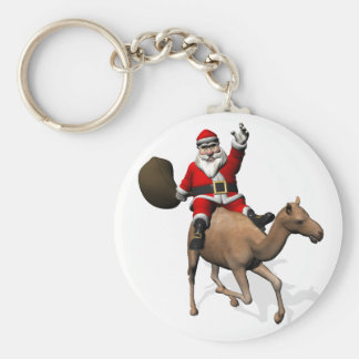 Santa Claus Riding A Camel Key Ring