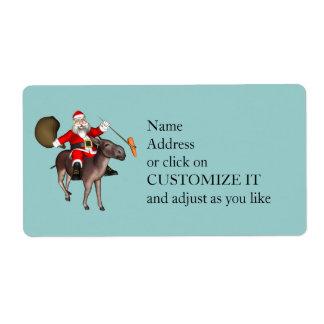 Santa Claus Riding A Donkey Shipping Label