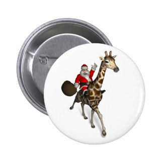 Santa Claus Riding A Giraffe Pinback Buttons
