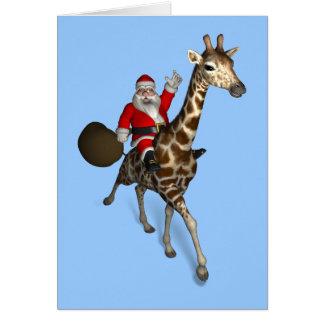 Santa Claus Riding A Giraffe Card