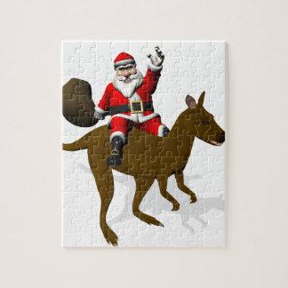 Santa Claus Riding On Kangaroo Jigsaw Puzzles