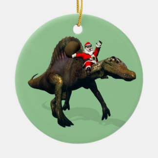 Santa Claus Riding On Spinosaurus Ceramic Ornament