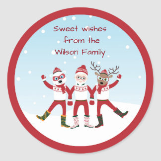 Santa Claus, Rudolph and Polar Bear Christmas Classic Round Sticker