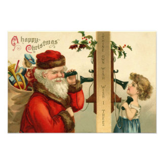 Santa Claus Sack of Toys Holly Phone Photographic Print