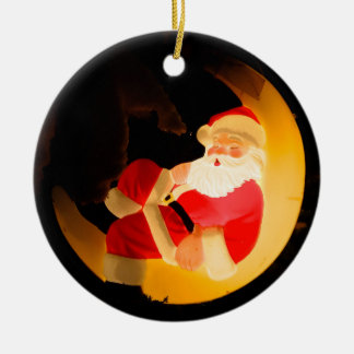 Santa Claus Sleeping on Moon Ceramic Ornament