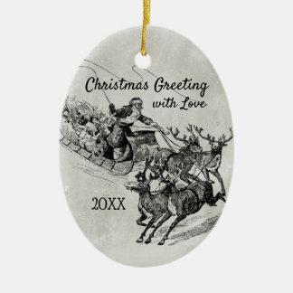 Santa Claus Sleigh & Reindeer Old World Monochrome Ceramic Ornament