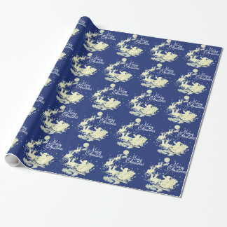 Santa Claus Sleigh Ride Merry Christmas Night Sky Wrapping Paper