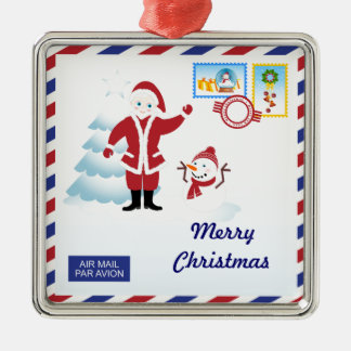 Santa Claus snail mail Square Metal Christmas Ornament