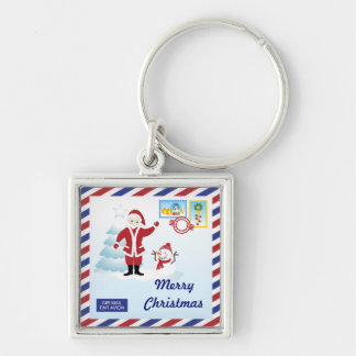 Santa Claus snail mail Silver-Colored Square Key Ring