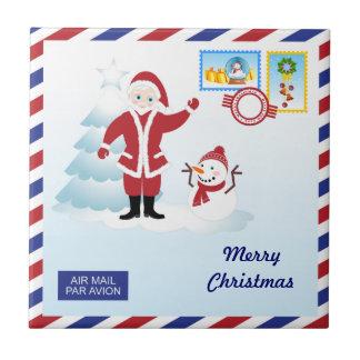 Santa Claus snail mail Small Square Tile