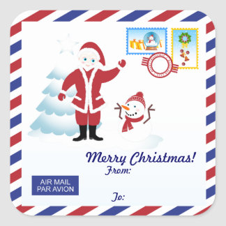 Santa Claus snail mail Square Sticker