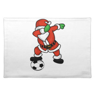 Santa Claus soccer dab dance ugly christmas T-shir Placemat