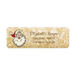 Santa Claus,Sparkle,Snowflakes,Glittery Bokeh Return Address Label