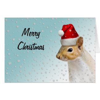 Santa Claus Squirrel Christmas Card - 2 sizes