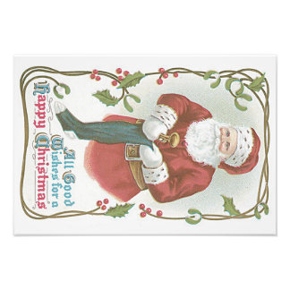 Santa Claus Stocking Toy Holly Mistletoe Photographic Print