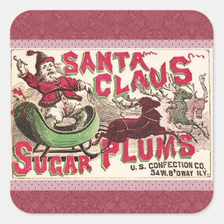 Santa Claus Sugar Plum Christmas Square Sticker