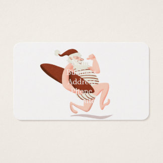 Santa claus surfing-santa claus cartoon-santa run business card