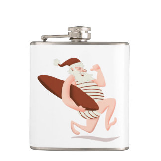 Santa claus surfing-santa claus cartoon-santa run hip flask