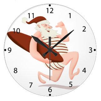 Santa claus surfing-santa claus cartoon-santa run large clock