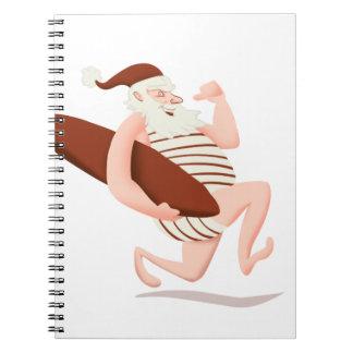 Santa claus surfing-santa claus cartoon-santa run notebook