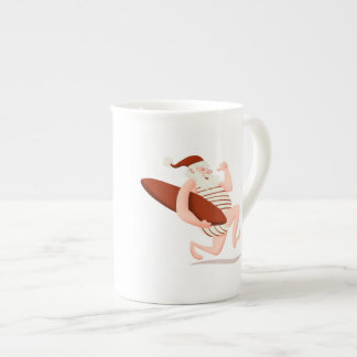 Santa claus surfing-santa claus cartoon-santa run tea cup