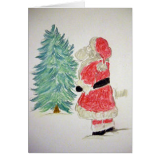 Santa Claus & Tree Card