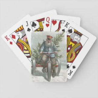 Santa Claus Tricycle Delivering Christmas Tree Playing Cards