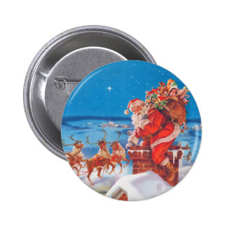 Santa Claus Up On The Rooftop With His Reindeer 6 Cm Round Badge