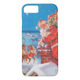 Santa Claus Up On The Rooftop With His Reindeer iPhone 8/7 Case