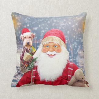 Santa Claus w Christmas Gifts Airedale Dog Cushion