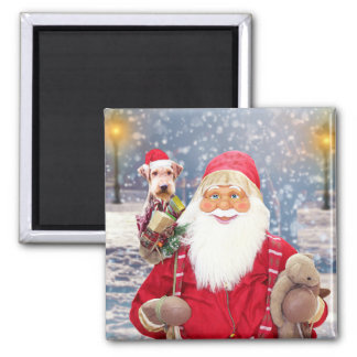 Santa Claus w Christmas Gifts Airedale Dog Magnet