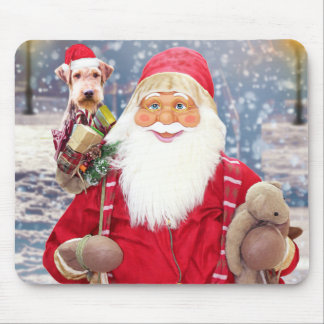 Santa Claus w Christmas Gifts Airedale Dog Mouse Pad
