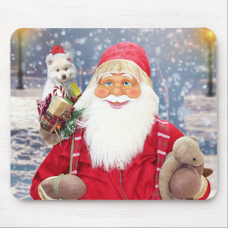 Santa Claus w Christmas Gifts American Eskimo Dog Mouse Pad