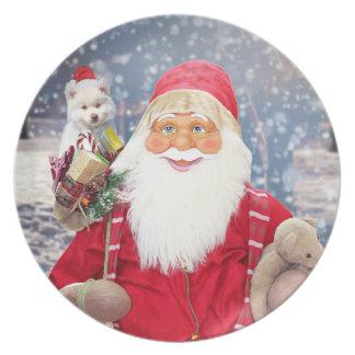 Santa Claus w Christmas Gifts American Eskimo Dog Plate