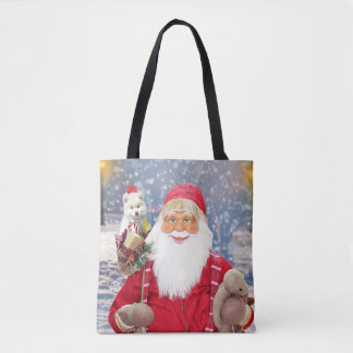 Santa Claus w Christmas Gifts American Eskimo Dog Tote Bag