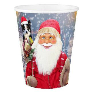 Santa Claus w Christmas Gifts Border Collie Dog